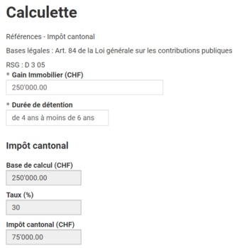 impot gain immobilier geneve