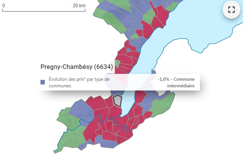 evolution prix m2 maison pregny chambesy 2021