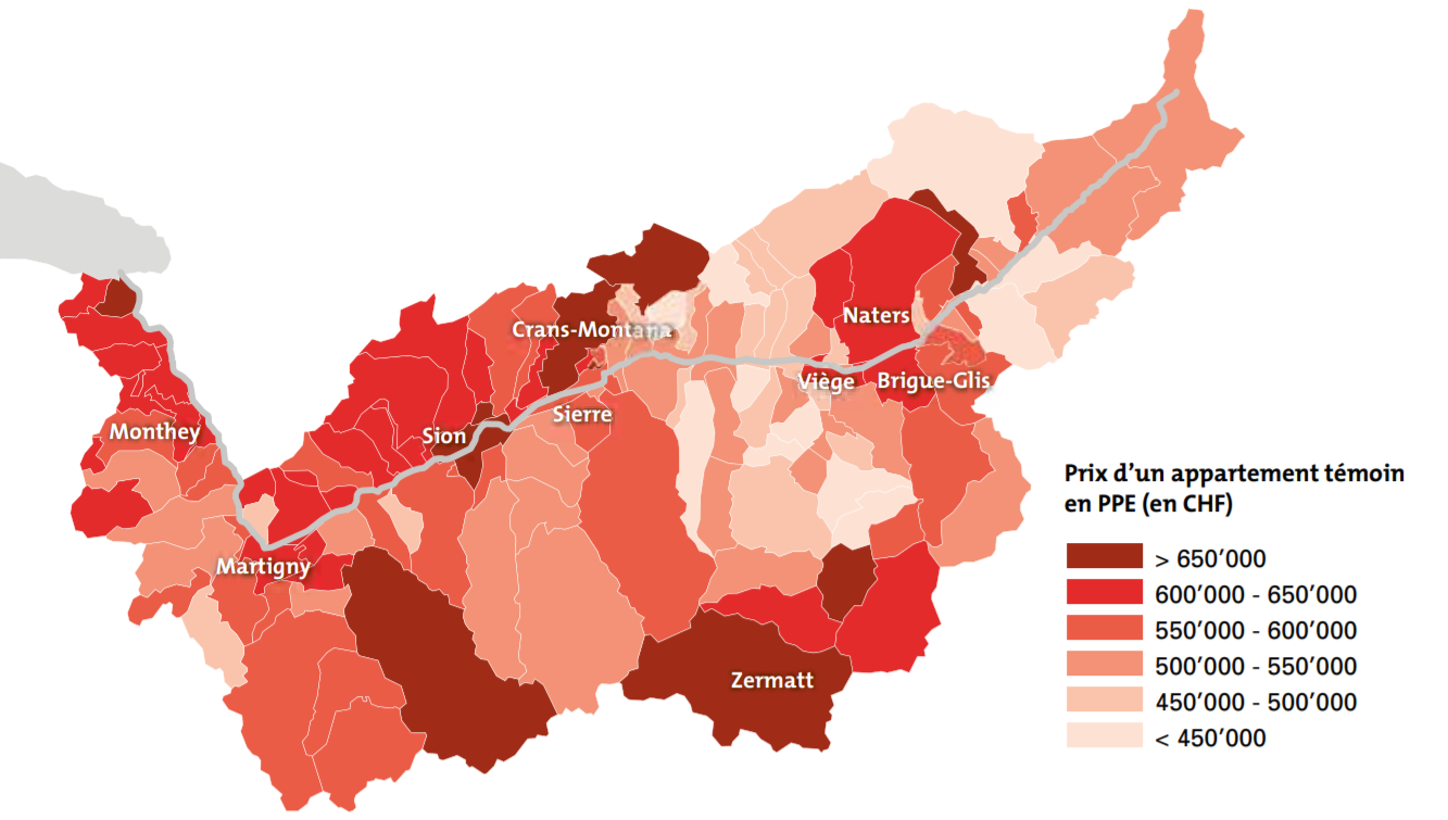 cartographie prix immobilier appartement ppe valais 2021