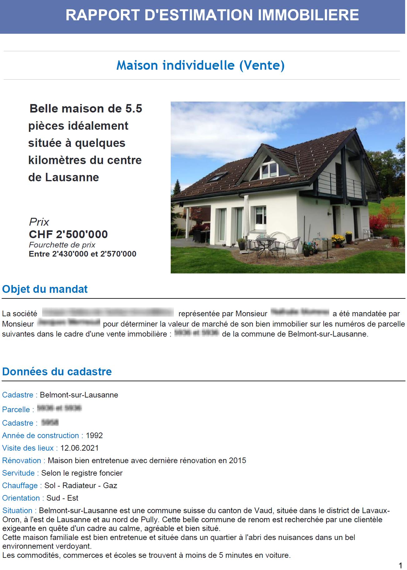 rapport estimation immobiliere suisse