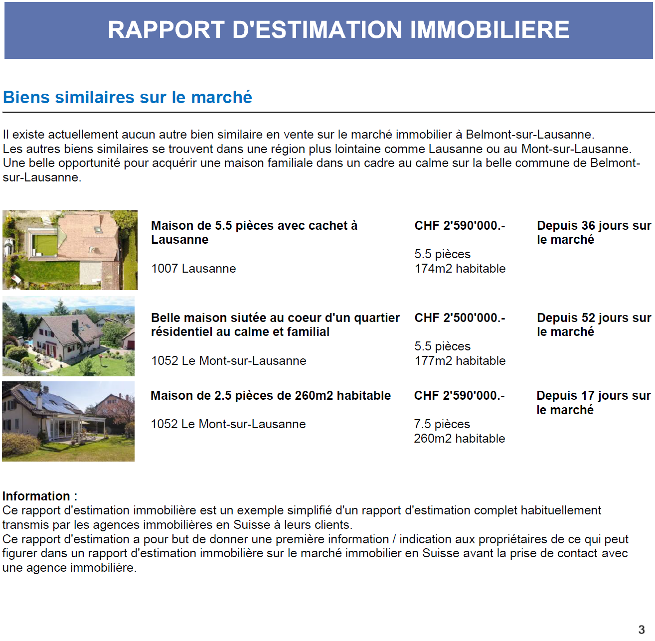 rapport estimation agence immobiliere suisse